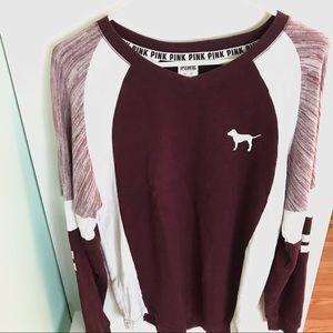 VS PINK Burgundy White Long Sleeve Sweater